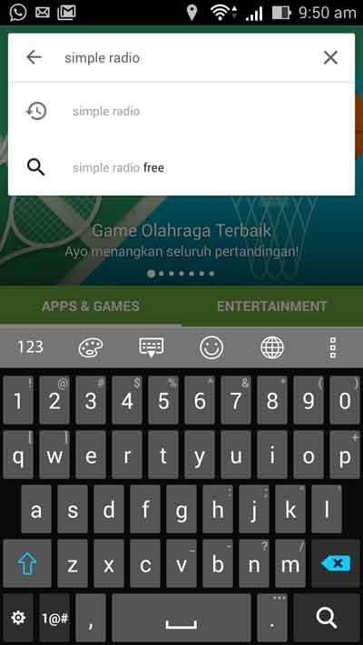 Buka Aplikasi Google Playstore dan search Simple Radio