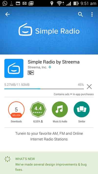 Tunggu proses instalasi Simple Radio selesai