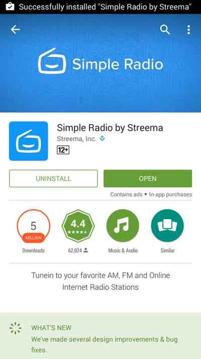 Setelah selesai klik open, atau kamu bisa klik icon Simple Radio dari halaman depan (HOME)