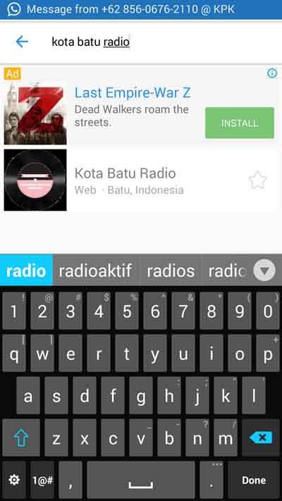 Pilih Kota Batu Radio (Web - Batu, Indonesia), jika belum terkoneksi dengan radionya klik icon play dibagian bawah
